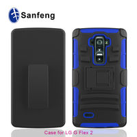 Hybrid Kickstand PC Silicone Cell Phone Cover with Holster for LG G Flex 2