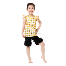 Summer Latest Lovely Design Little Girls Two Pieces Outfits Emoji Printed Top with ruffle pant