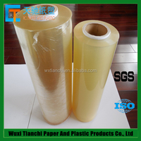 ISO9001 ISO14001 certificated clear and transparent high quality PVC food grade cling film jumbo roll 1500mm