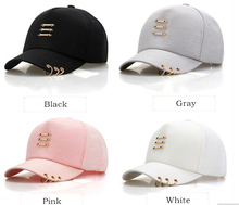 Fashion Baseball Caps With Rings For Women And Men's Solid Color Spring Summer Cap