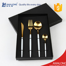 elegant gold plated cutlery in gift box / 4pcs stainless steel cutlery set with white handle