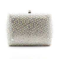 Graceful Ladies Silver Rhinestone Dinner Clutch Bag