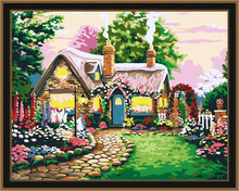 Small fairy tale houses DIY oil painting by numbers kits digital painting for kids room 5004