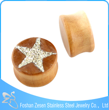 Wood Double Flared Saddle Plugs Ear Piercing Real Diamond Ear Tunnels