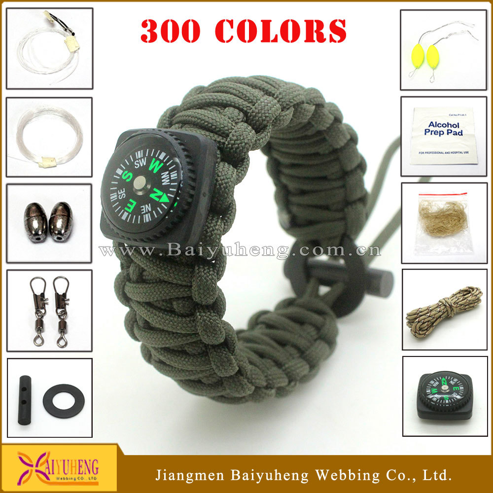 military survival paracord bracelet fire starter whistle compass