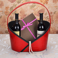 high grade faux leather cover food put storage gift basket factory supplier