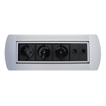 ZSPM-4 Silver Manual Flip Desktop Socket with European power and RJ45