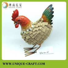 Chicken with metal and flax cloth For garden Decorations