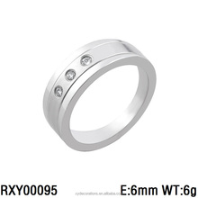 RXY00095 new desgn high polished stainless steel jewelry ring zircon stone custom rings for men and women