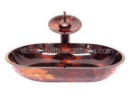 DOMO tempered glass vessel sink