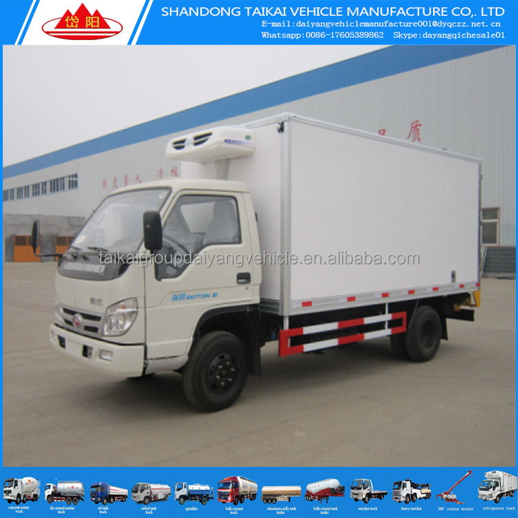 Best price Foton 4x2 80 hp mini small refrigerator truck cooling van truck for sale