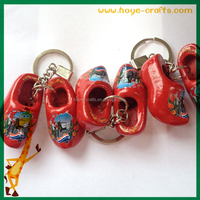 blank key chains tourist souvenirs pair wooden shoes key ring