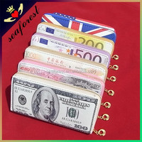 Cheap wholesale unique printing wallet,new creative pu leather women long purses