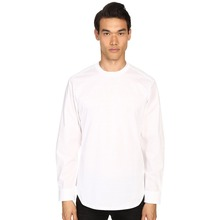 new design blank mens plain white long sleeve t shirt with buttons sleeve