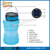 (top) IP67 3LED collapsible Solar LED camping light lamp with storage bottle