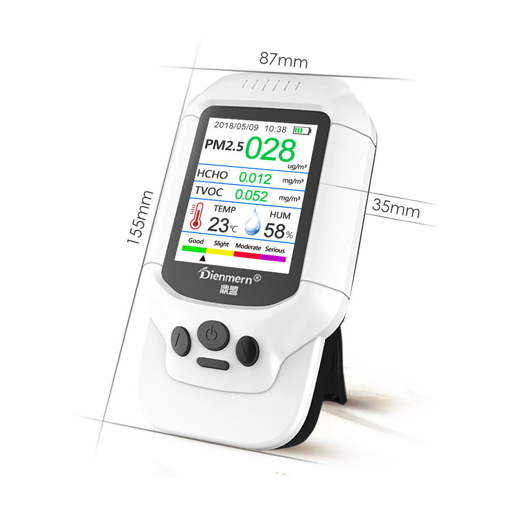 Dienmern 2019 best seller PM2.5 air quality monitor HCHO/TVOC/PM1.0/PM10 AQI handheld air detector meter USA Poland Thailand
