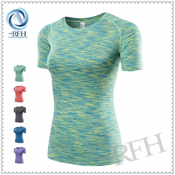 2016 Summer wholesale sports clothing print compression dry fit woman tops