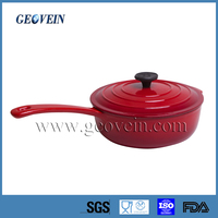 Red Enamel Cast Iron Non-stick Induction Sauce Pot/Mini Milk Pot