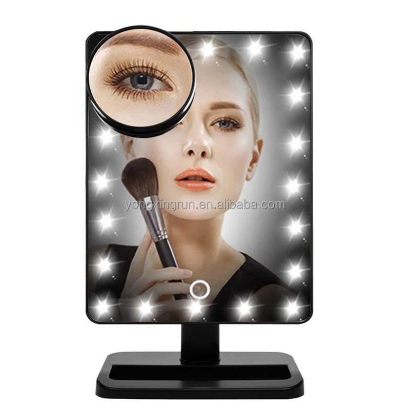 20 Bright LEDs Lighted Touch Sensor Switch Table Standing Makeup Mirror with 10x/15x/20x Magnifying Spot Mirror