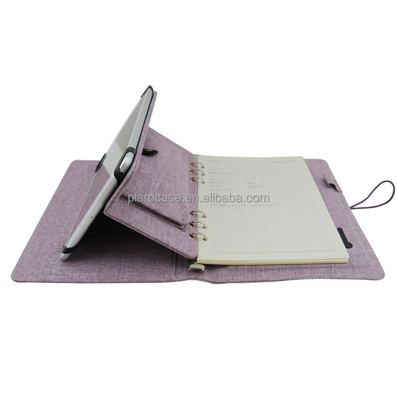 Linen Notebook Diary with Power Bank and Ipad Holder and Phone Case