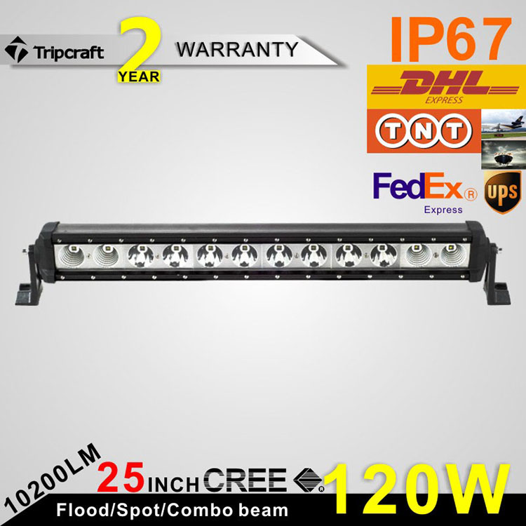 "25inch led light bar 120w single row led offroad light bar 25"" led driving light bar"