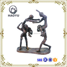 Home decorating art and crafts cast iron boy and girl bronze sculptures