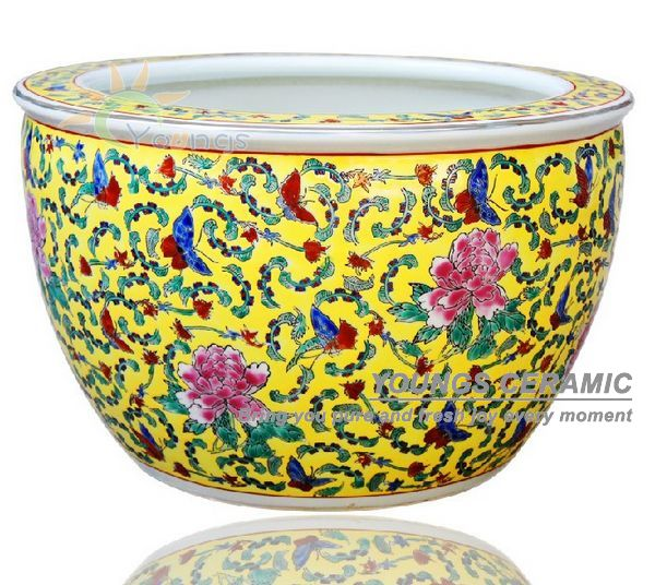 Retail And wholesale large china luxury famille rose ceramic planter pot for outdoor