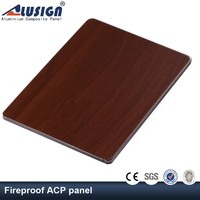 Alusign cheap red cheery wood interior decorative acp panel aluminum composite panel