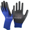 NMSAFETY 13 gauge knitted navy blue polyester liner coated black pu on palm gloves for light industry