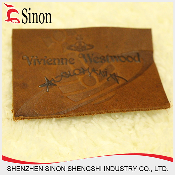 fashion design new pu label materials embossed leather label for jeans patch