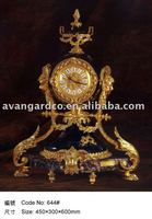 Antique luxury high quality brass with 24K gold table clock