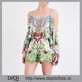 Wholesale Women Exotic Hypnotic Cold Shoulder Silk Georgette Floral Print Flare Sleeve Double Spaghetti Strap Romper