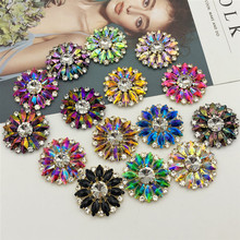 Fashion Ornaments Lace Trimming Embellishment Sew on Flat Back <strong>Crystal</strong> Rhinestone Brooch Applique For Women Dress