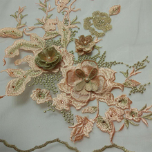 High quality beads wedding embroidery 3d bride lace fabric