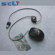 High quality fancy laptop retractable mini wired mouse for promotion