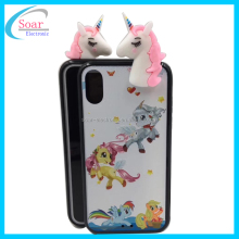 Shockproof 2 in 1 3D Custom Design Cute Unicorn TPU PC Cover For iPhone X Case