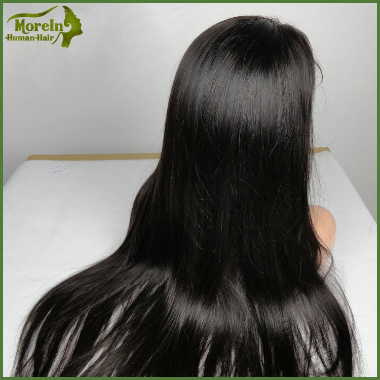 Top quality 190%-200% density thick hair wig straight peruvian hair lace frontal