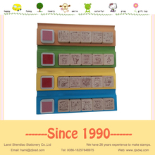 30*30mm WOOD stamps in wooden tray with stamp ink pad