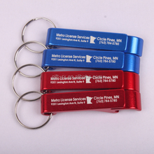 Screen printed company logo aluminum bottle opener with keyring
