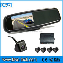 4.3 inch Auto Brightness rearview mirror car reverse camera kit with parking sensors