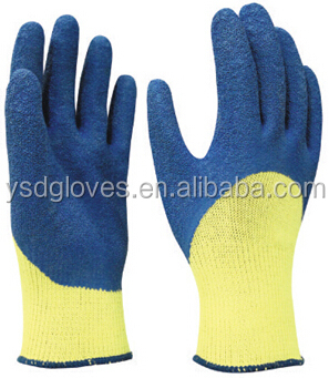 10 gauge cut resistant shell crinkle latex dipped glove,open back