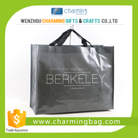 Glossy Grey PP Woven Shopping Bag with Logo