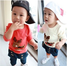 Latest hot new baby boy's/girl's blouse cartoon Christmas deer long sleeve baby t shirt