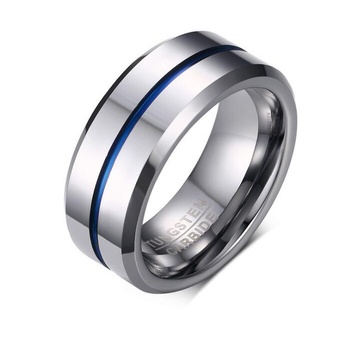 Wholesale IP blue plating fashion tungsten steel ring jewelry rings for men