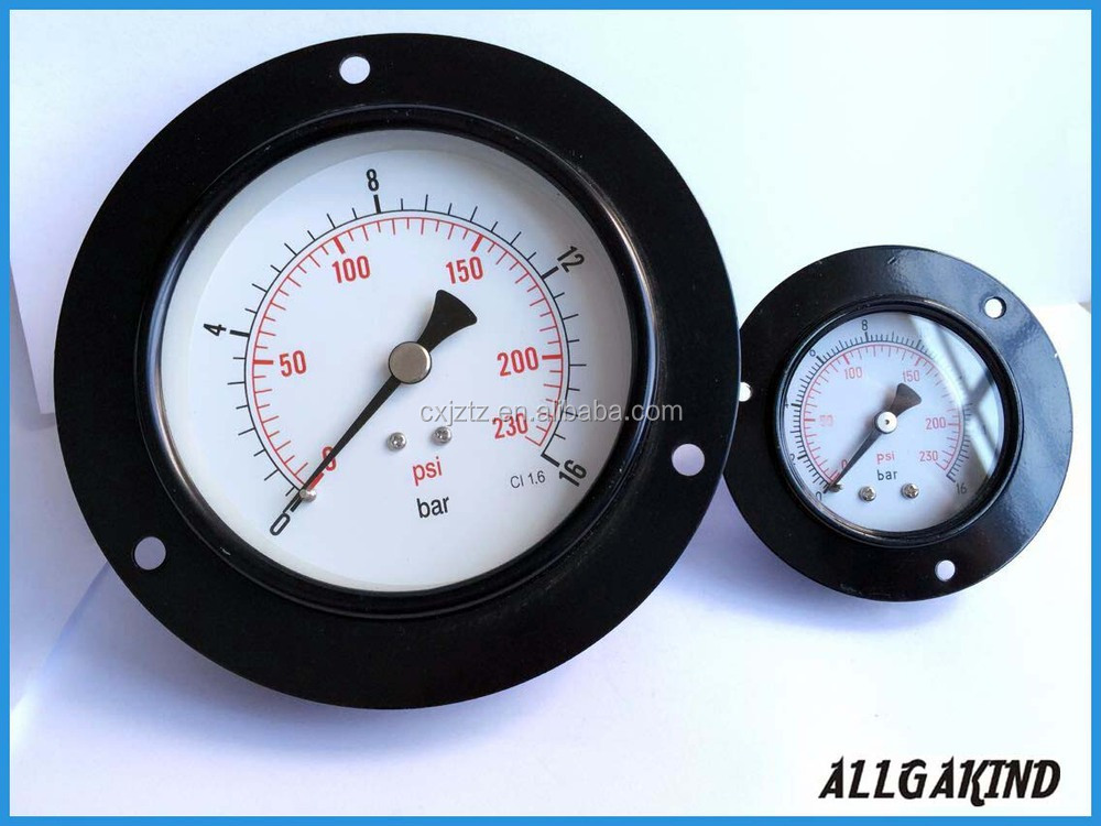 100mm bottom connection pressure gauge with back flange and black steel case brass connection high pressure