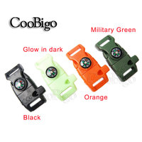 "#FLC158-FWC(Mix-s) for Paracord Bracelet Outdoor Activity Emergency Survival 5/8"" Fire Starter Compass Whistle Buckle"