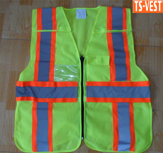 ANSI/ISEA 107 Class 2 high visibility reflective Security vest with knitted backing