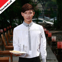 High quality wholesale long sleeve white waitress cook shirt waiter clothes