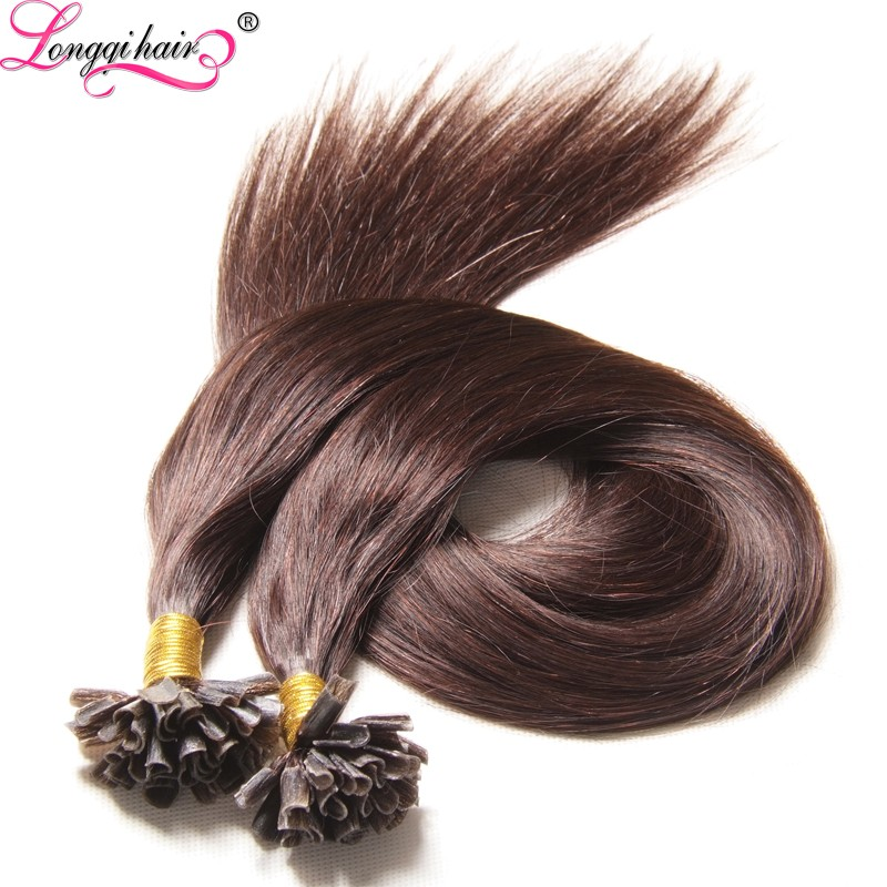 Sping Fashion Unprocessed Virgin Brazilian Human Hair U Nail Flat Tip Hair Extension