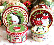 christmas gift printed round metal tin box set,metal tea box